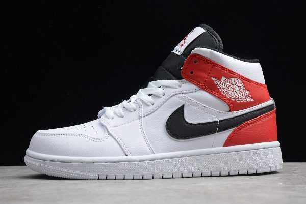 Air Jordan 1 Mid White Black Red For Sale 554724-116