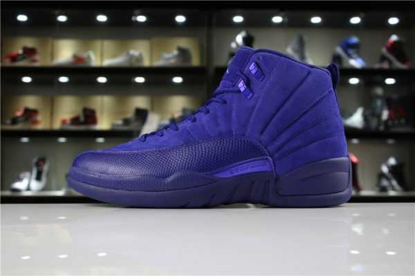 "Cheap Air Jordan 12 ""Blue Suede"" Deep Royal Blue/White-Metallic Silver 130690-400"
