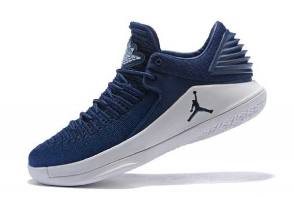 New Air Jordan 32 Low Midnight Navy/White Men' s Basketball Shoes