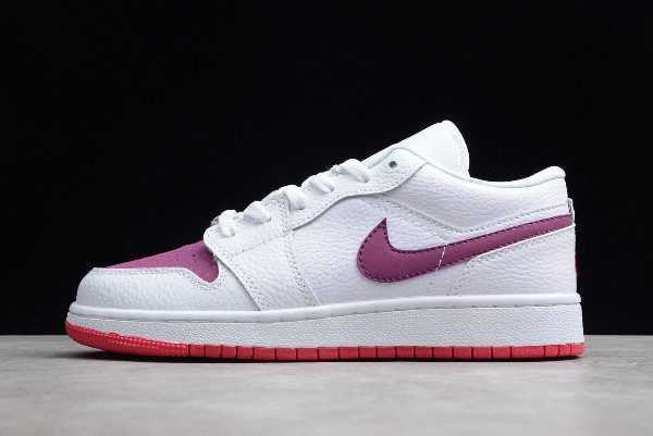 2019 New Air Jordan 1 Low GS Valentine' Day White/True Berry-Rush Pink