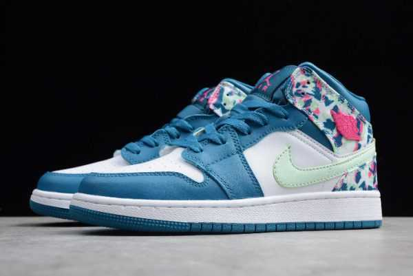 2019 New Air Jordan 1 Mid White/Blue-Pink-Green Girls Size