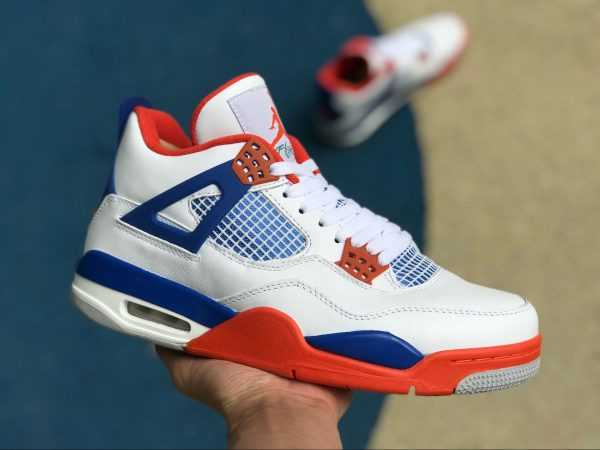 2018 New Air Jordan 4 Custom ' nicks' White/Royal Blue-Orange 308497-171
