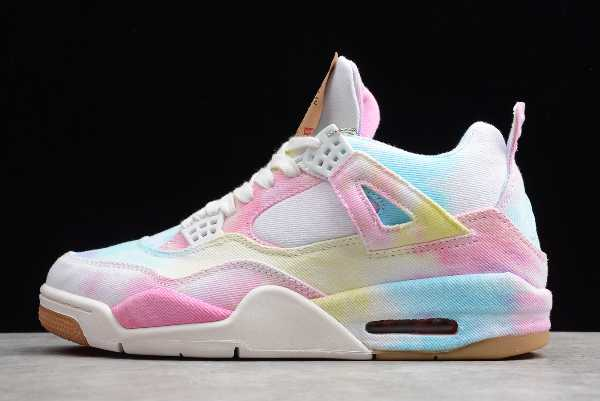 AO2571-102 Custom Levi' s x Air Jordan 4 Tie Dye Canvas Multi-Color For Sale