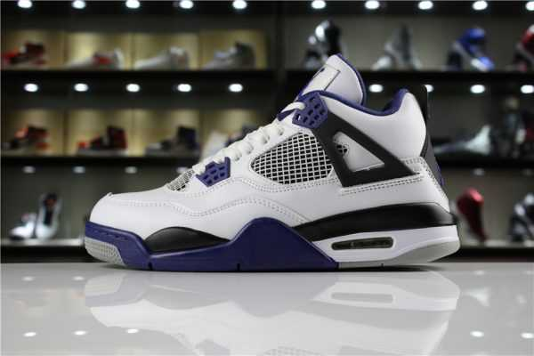 "Mens Air Jordan 4 Retro ""Motorsport"" White/Game Royal-Black 308497-117"