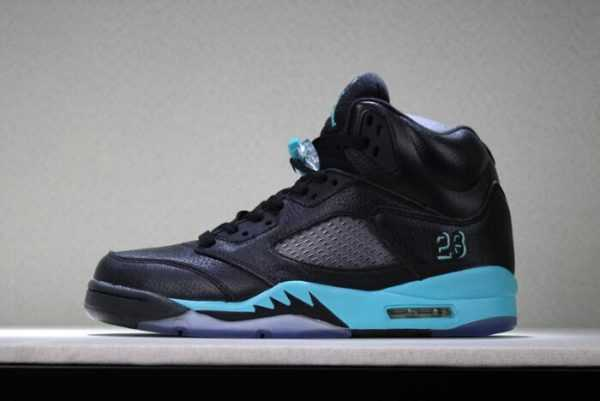 New Air Jordan 5 Black Green Men' s Basketball Shoes