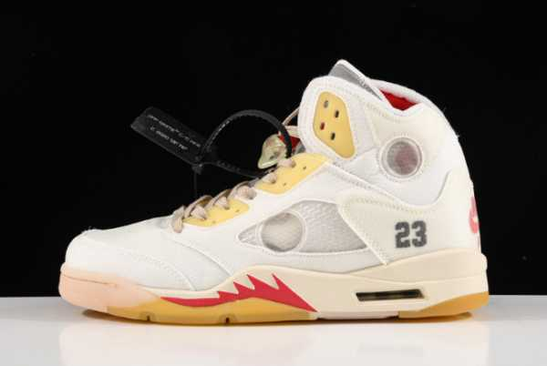 2020 New OFF-WHITE x Air Jordan 5 White/Fire Red CT8480-002 For Sale