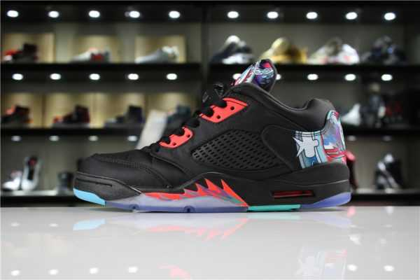 "Air Jordan 5 Low ""Chinese New Year"" Black/Bright Crimson-Beta Blue-Black 840475-060"
