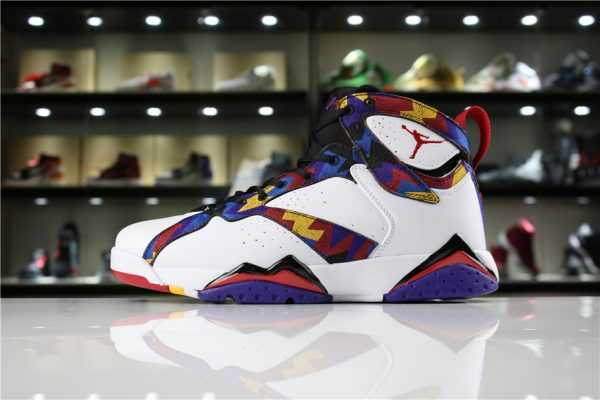 "Air Jordan 7 Retro ""Nothing But Net"" Sweater White/University Red-Black 304775-142"