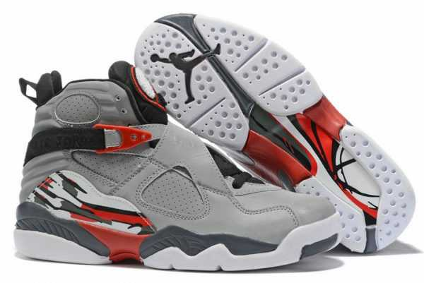Air Jordan 8 Wolf Grey Black-Red-White Free Shipping
