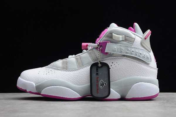 Girls Air Jordan 6 Rings GG Pure Platinum/Fuchsia Blast Shoes