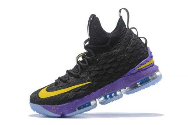 2018 Men's Nike LeBron 15 Black/Purple-Yellow Basketball Shoes