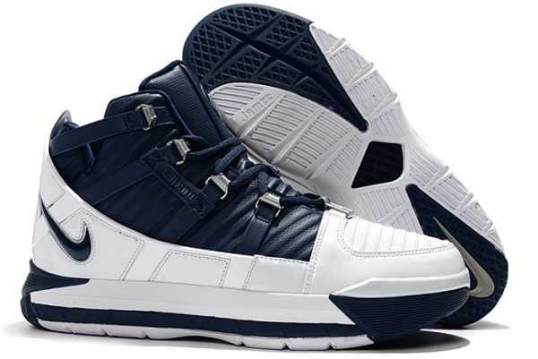 Nike Zoom LeBron 3 White/Navy Blue-Silver Men's Size AO2434-103