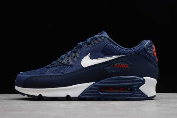 Mens Nike Air Max 90 Essential Midnight Navy/University Red-White