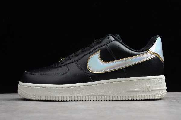 "Womens Nike Air Force 1 Low ""Metallic Platinum"" Black White AR0642-002"