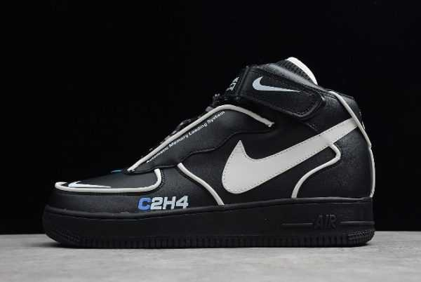 C2H4 x Nike Air Force 1 Mid 3M Black Leather/White-Blue BQ7541-001