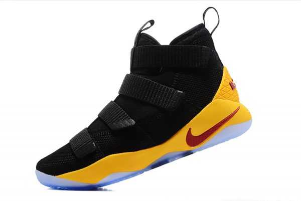 2018 Mens Nike LeBron Soldier 11 Black Yellow Cavs PE Basketball Shoes