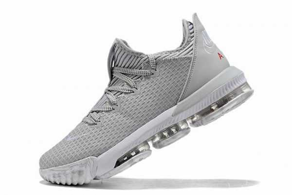 Nike LeBron 16 Low Wolf Grey University Red For Sale CI2668-003