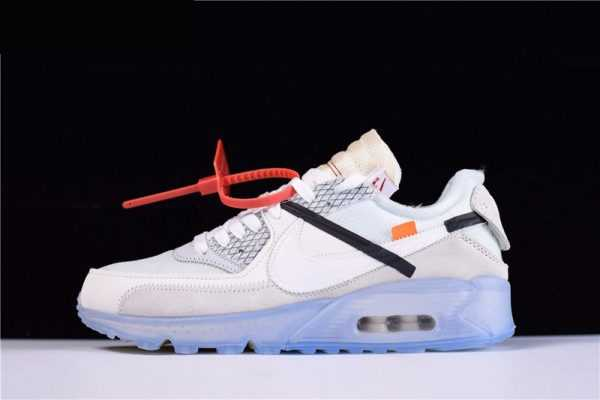 "Mens and WMNS Virgil Abloh's OFF-WHITE x Nike Air Max 90 ""Ice"" The Ten AA7293-100"