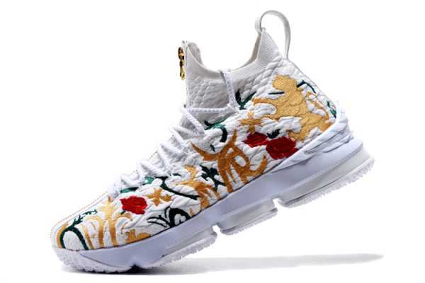 "KITH x Nike LeBron 15 ""Floral"" White/Floral-Gold Men's Basketball Shoes"