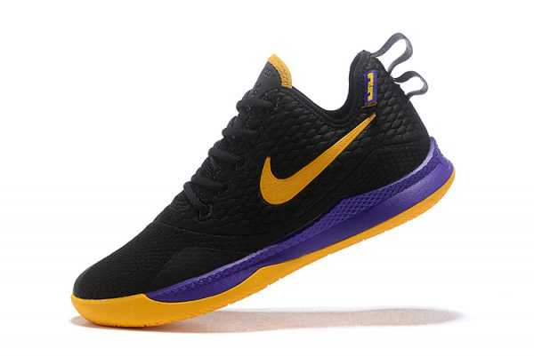 Men's Nike LeBron Witness 3 Black/Yellow-Purple Basketball Shoes