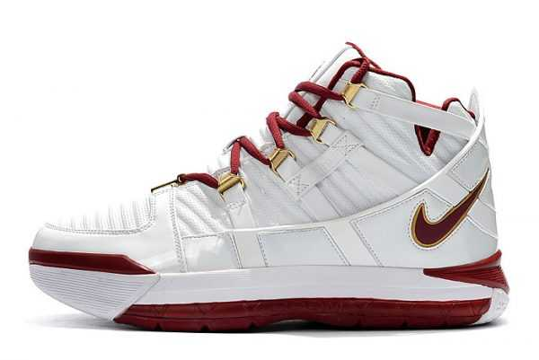 Nike LeBron 3 White/Wine Red-Metallic Gold Men's Size