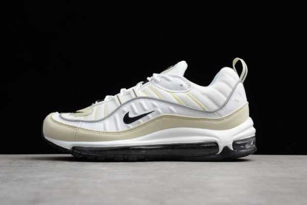 "Mens and WMNS Nike Air Max 98 ""Sail"" White/Black-Fossil-Reflect Silver AH6799-102"